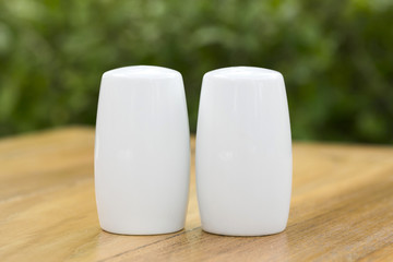 A pair of salt and pepper bottle on dinner table