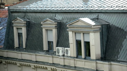 House roof in the rain