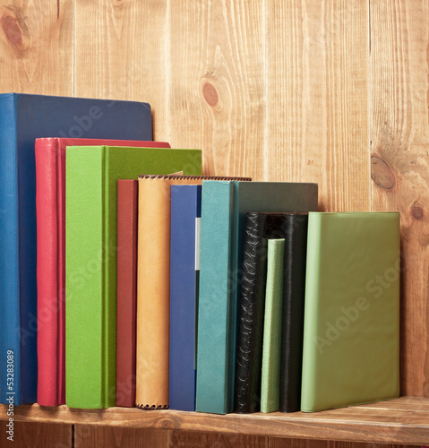 Books on the brown bookshelf