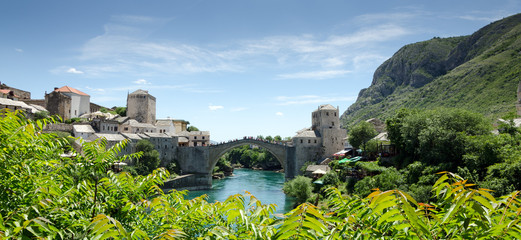 View of Mostar Town and Bridge