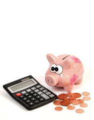 Piggy Bank With Calculator And Coins
