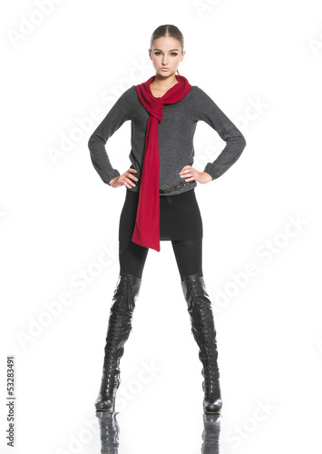 full body fashion woman with red scarf posing