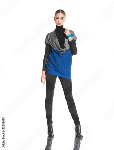 full body fashion woman posing on white background