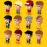 People Men Isometric Set