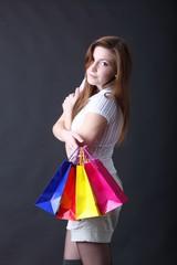 shopping - Frau mit Einkaufstaschen