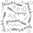 dziękuję w różnych językach nieskończony deseń ze znakami