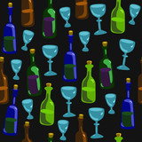 Seamless pattern with a colorful bottles and glasses on a black