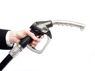 hand holding a fuel pump