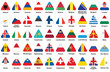 set of triangle icons with European flags