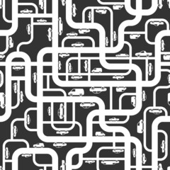 Abstract roads seamless pattern. Vector illustration.