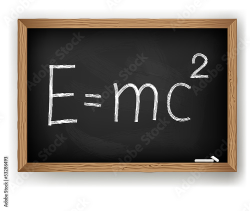 poster of Albert Einsteins physical formula on blackboard