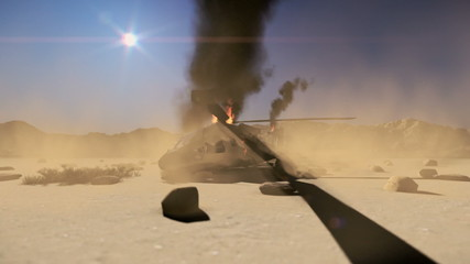 Army tank on fire after being shot in battle in the desert
