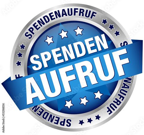 """Button Banner """"Spendenaufruf"""" blau/silber"""