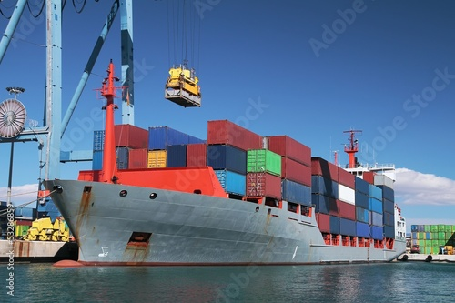 Container ship and crane
