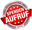 "Button Banner ""Spendenaufruf"" rot/silber"