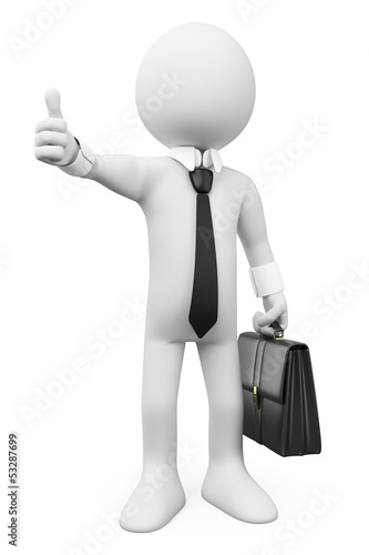 3D white people. Businessman thumb up