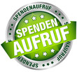 """Button Banner """"Spendenaufruf"""" grün/silber"""