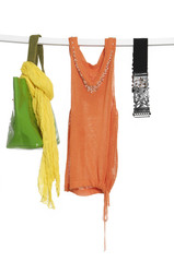silk scarf and bag ,clothing on a hanger