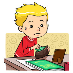 A boy stealing money in his father wallet. Vector EPS8 file.