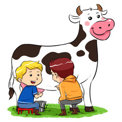 Children milking a cow in ranch farm. Vector EPS8 file.
