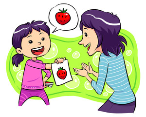A girl playing guess image with her mother. Vector EPS8 file.