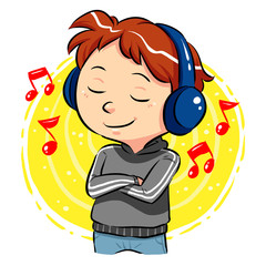 A boy listening to music with headphones. Vector EPS8 file.