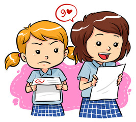 Students receive their exam results with different expressions.