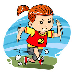 A little girl do running exercise. Vector EPS8 file.