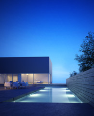Elegant luxury contemporary house with a pool, night view