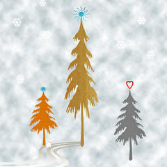 Abstract Winter Scene - Holiday trees and falling snow