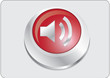 Volume icon red button, vector
