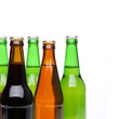 Closed bottles of beer on a white background
