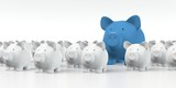 Piggy bank - Group with big blue pig