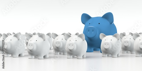 canvas print picture Piggy bank - Group with big blue pig