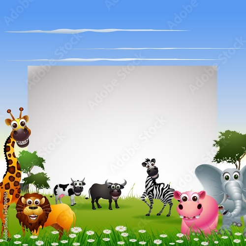 funny animal cartoon collection with blank sign