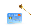 Credit card and golden magic wand.