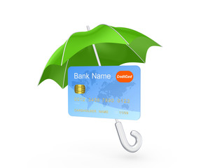 Credit card under green umbrella.