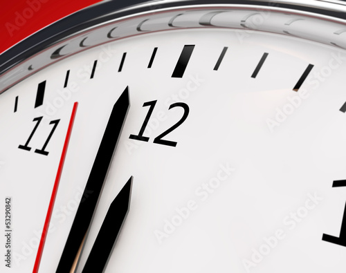 Clock about to show 12 o'clock - New Year / Running out of time