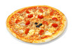 tuna and cherry tomato pizza isolated on white background
