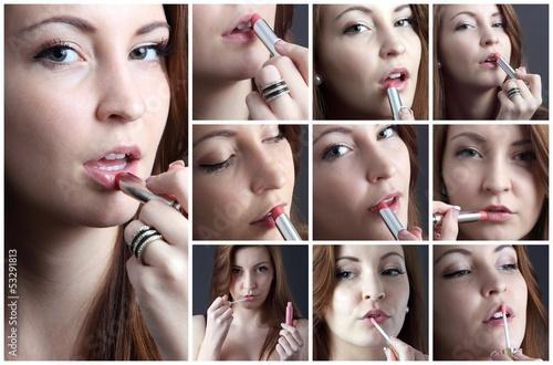 canvas print picture Lippenstift und Lipgloss
