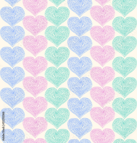 Linear ornate seamless pattern with lacy hearts - 53292066