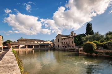 Old thermal baths in the medieval village Bagno Vignoni in Tusca