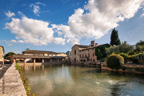 Old thermal baths in the medieval village Bagno Vignoni in Tusca