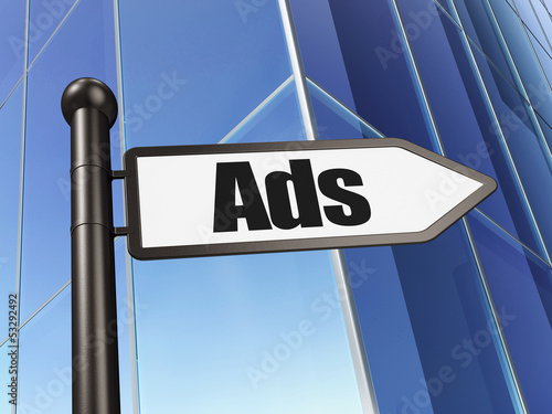 Marketing concept: Ads on Building background