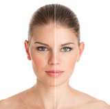 Before and after cosmetic operation. Woman portrait, isolated