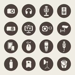 Photo and other technical devices icons set