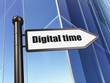 Time concept: Digital Time on Building background