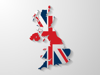 United Kingdom map whith shadow effect presentation