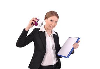 бизнес-леди ставит печать на документы