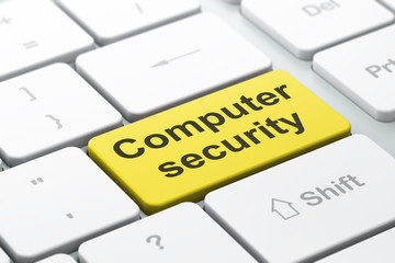 Protection concept: Computer Security on computer keyboard backg